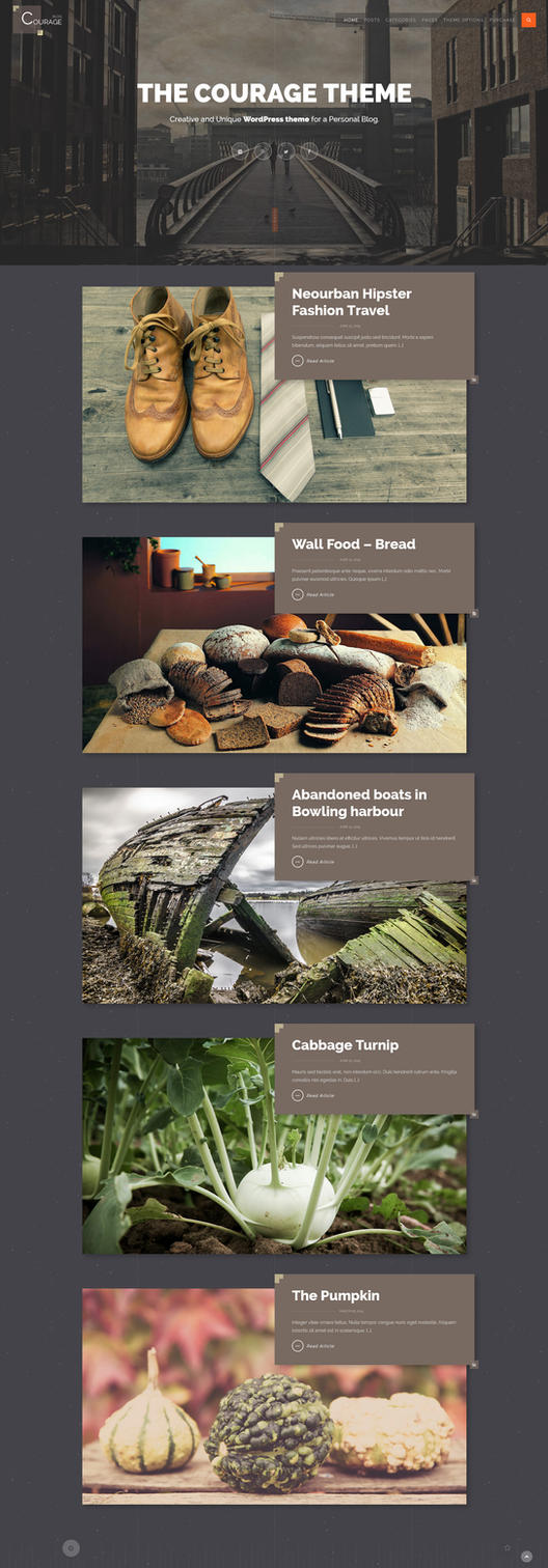 Courage - WordPress Creative Blog Theme - Home by ZERGEV