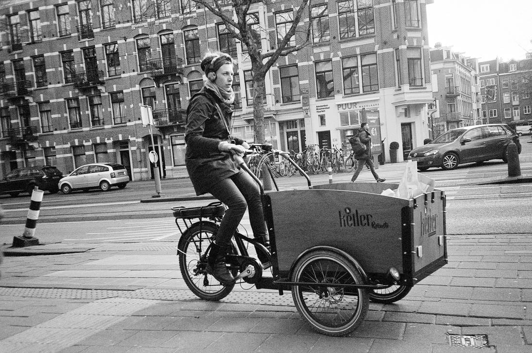cycling - amsterdam - ilford xp2 olympus mju by darthfungus