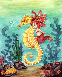 Seahorse and little mermaid by Ilona-S