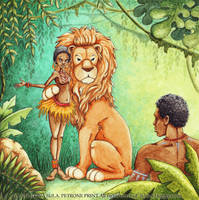 Lion and the village girl by Ilona-S