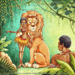 Lion and the village girl