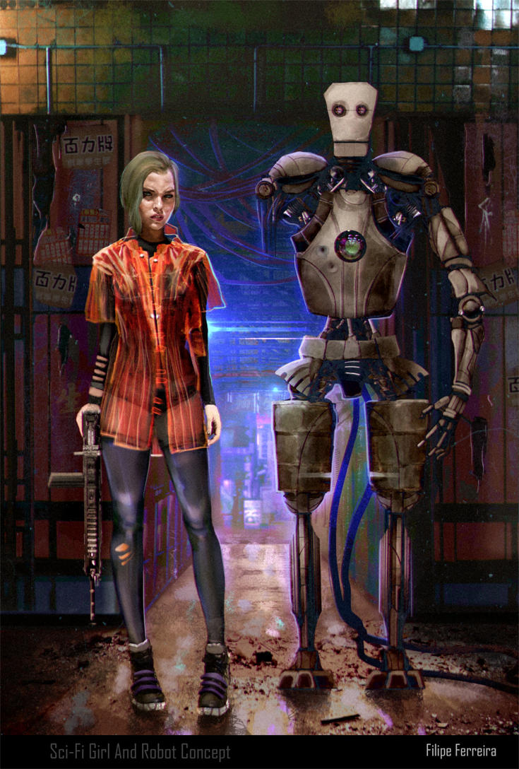 Cyborg Girl and Robot Concept by FilipeHattori