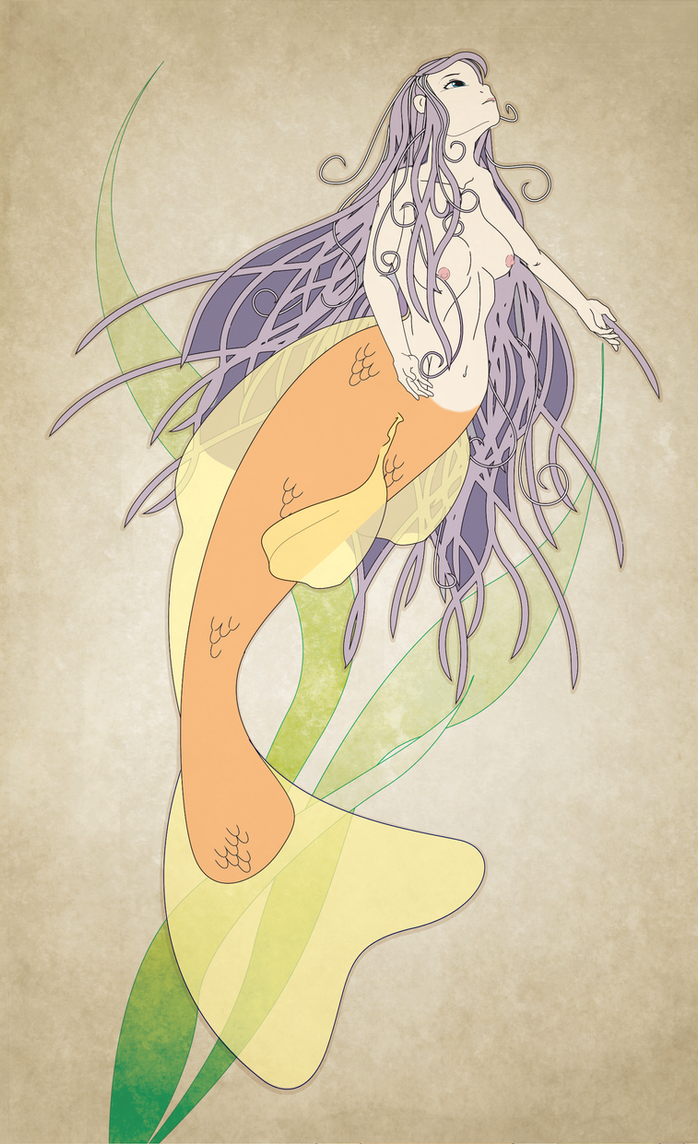 Art Nouveau mermaid by keniakittykat