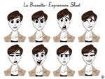 La brunette -Expression sheet