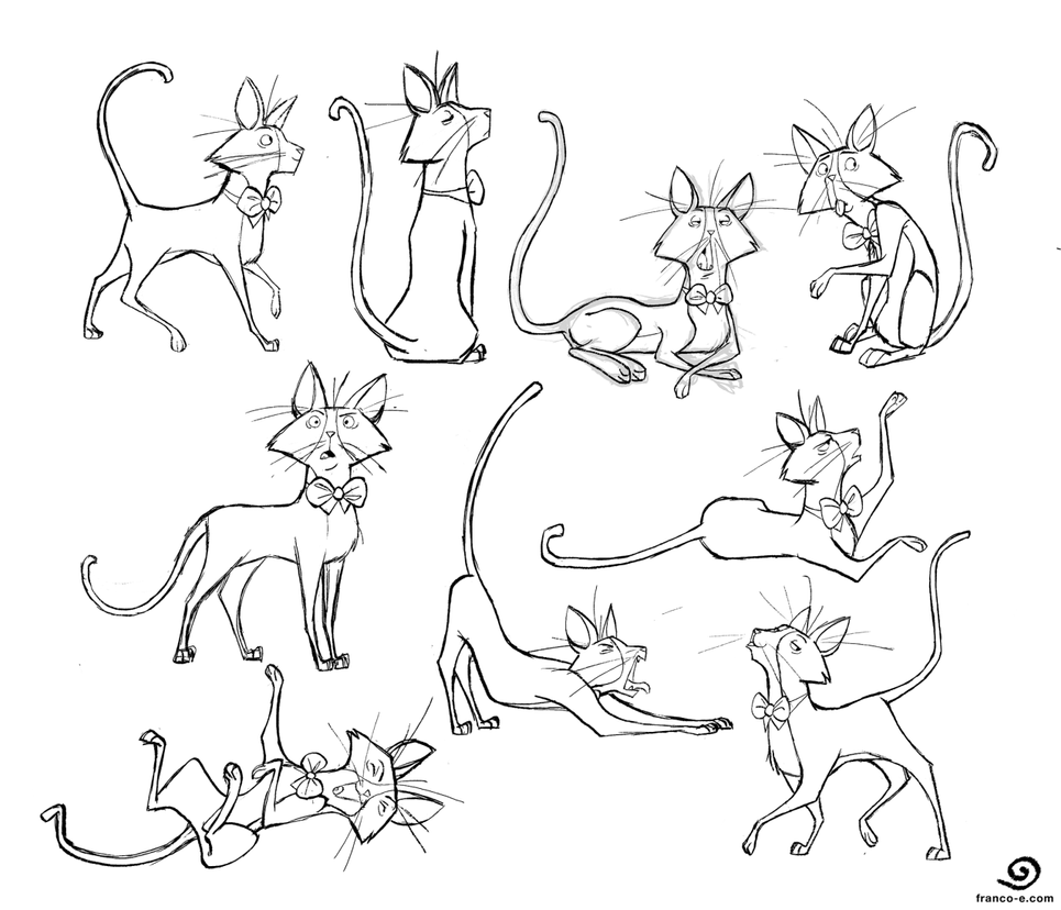 Bowtie Cat- Poses by chillyfranco