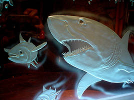 Great White Shark Carved Glass by HunterGlass