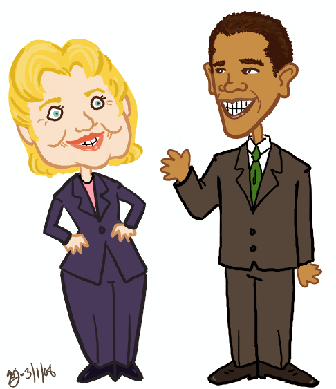 Hillary and Obama by KellyDawn
