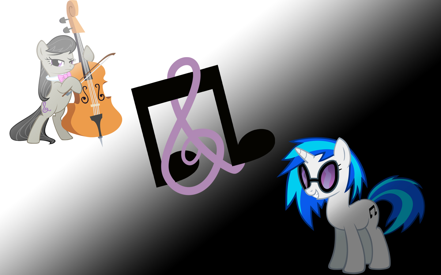 Simple Octavia And Vinyl Scratch Wallpaper By