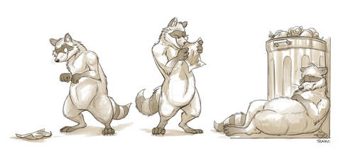 Animal Proportion Practice (Raccoon) by Temiree