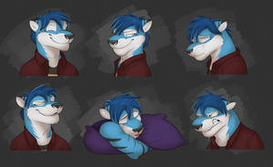 Commission: Glitch's Expression Sheet by Temiree