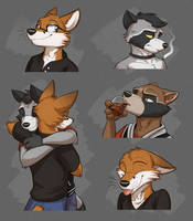 Commission: Scott and Procyon's Expression Sheet by Temiree