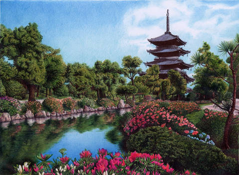 Palace garden in Kyoto, Japan, Bic Ballpoint Pen