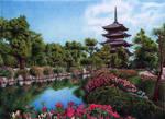 Palace garden in Kyoto, Japan, Bic Ballpoint Pen