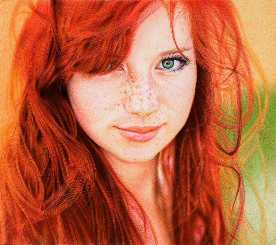 Redhead Girl - Ballpoint Pen by VianaArts