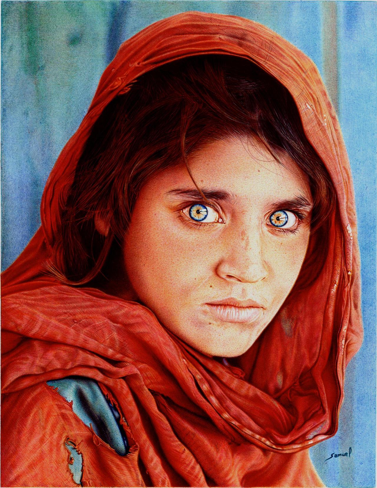 Afghan Girl - Ballpoint Pen by VianaArts