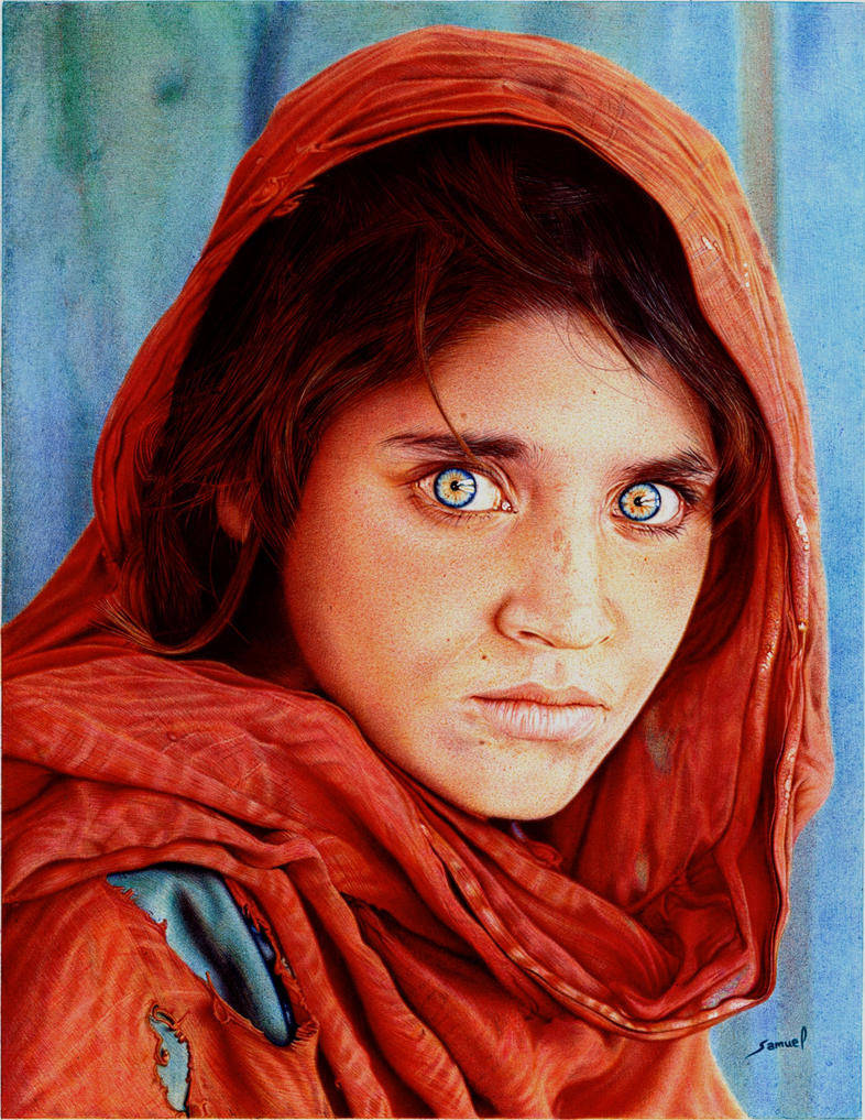 Afghan Girl - Ballpoint Pen by VianaArts