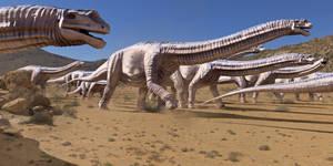 Argentinosaurus herd walking in the desert