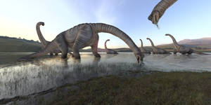 Brachiosaurus herd in a lake