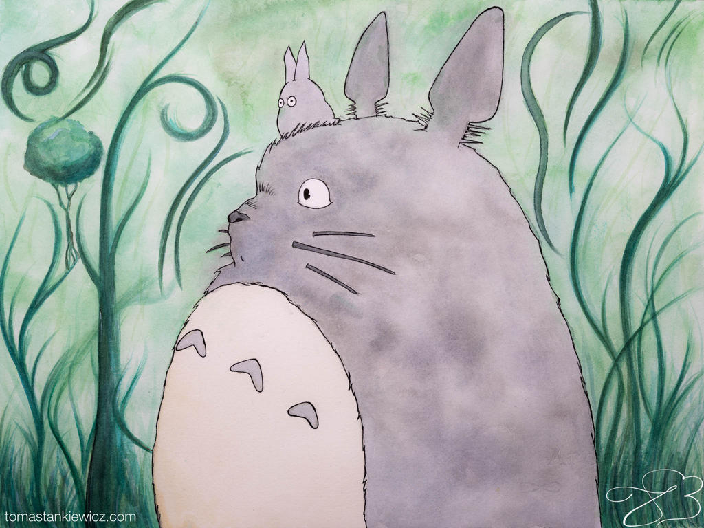Totoro watercolor by tomastankiewicz