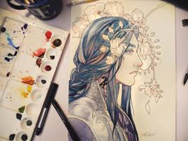 His Blue Gaze by LadyEru