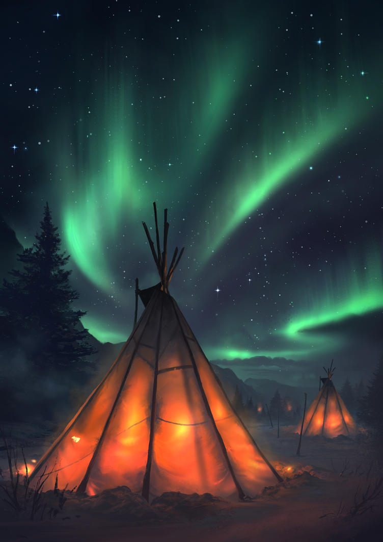 Northern lights by artofmarius on deviantart for Lights for paintings