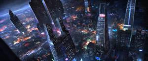 Sci-fi city by artofmarius