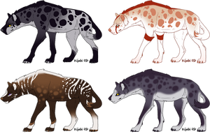 2/4 OPEN - Hyenas [ADOPTS] by RigelAdopts
