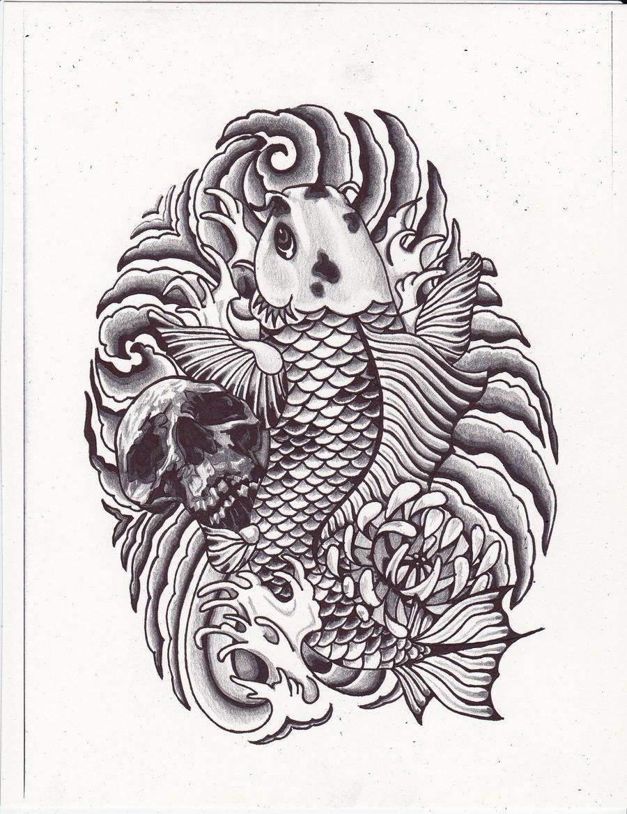 koi fish skeleton tattoo. Black Bedroom Furniture Sets. Home Design Ideas