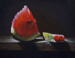 Broken watermelon slice by marcheba