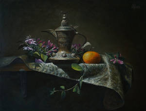 Copper pitcher with flowers