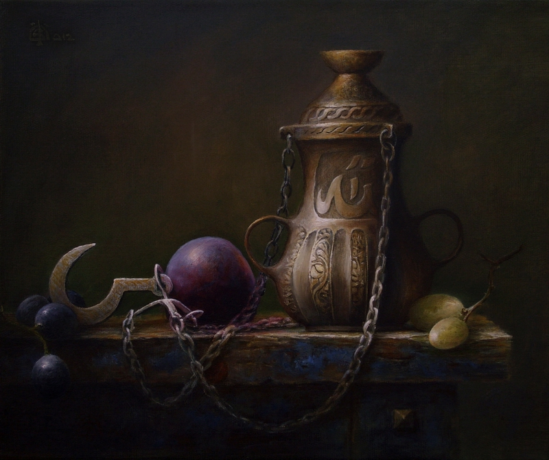 Ottoman Oil Lamp, plums and grapes by marcheba