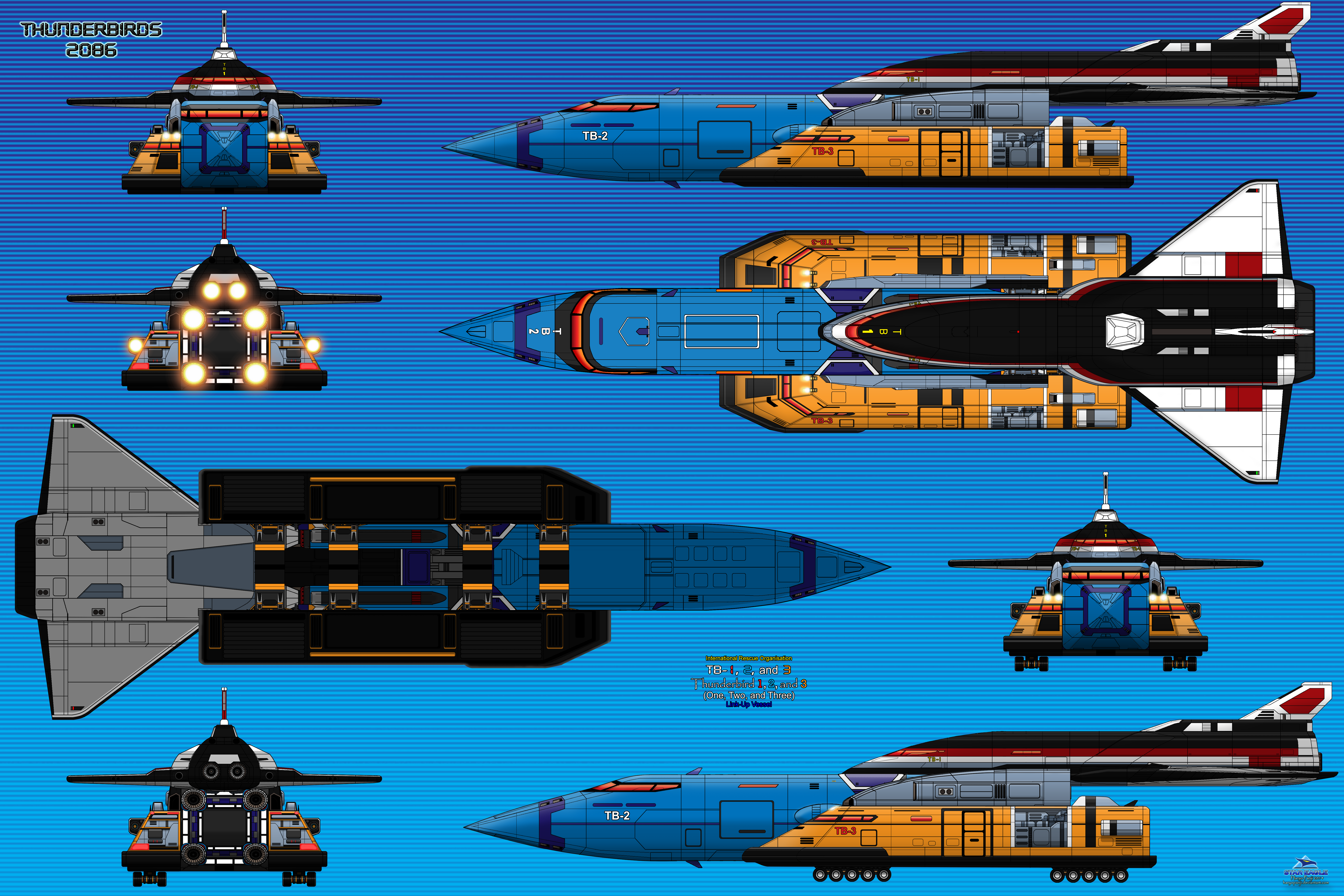 Thunderbird-1, 2, and 3 Link-up