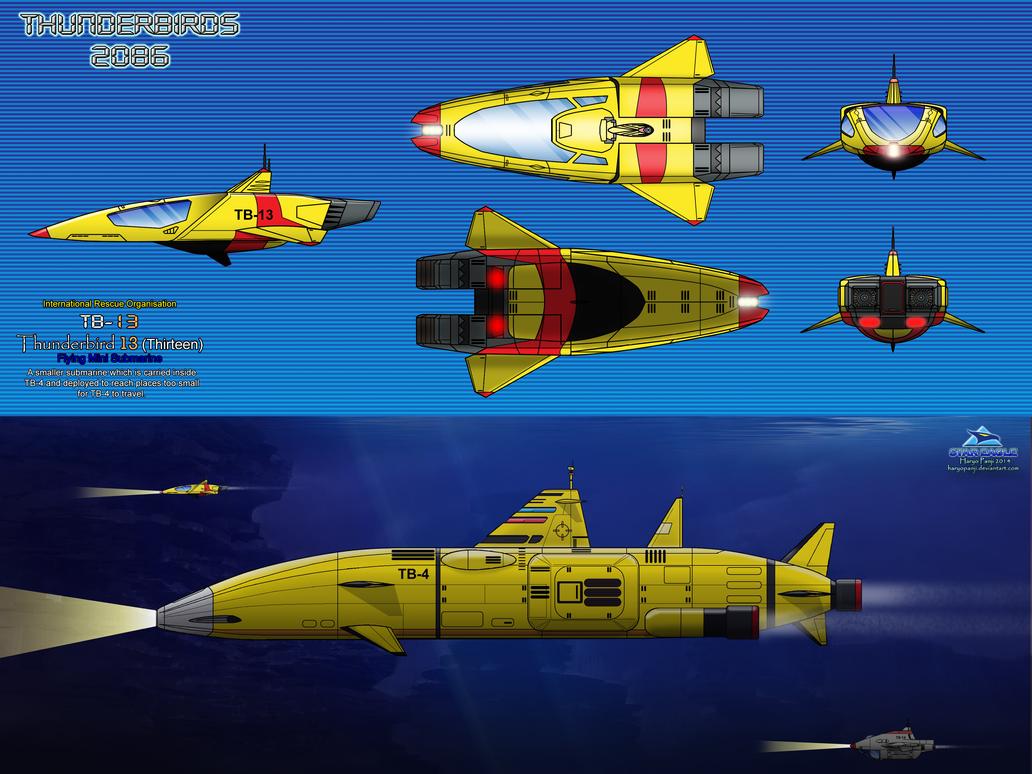 Thunderbird 6 Cartoon Characters : Thunderbird tb flying mini submarine by haryopanji