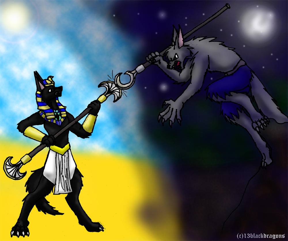 Anubis vs. Werewolf by 13blackdragons on DeviantArt