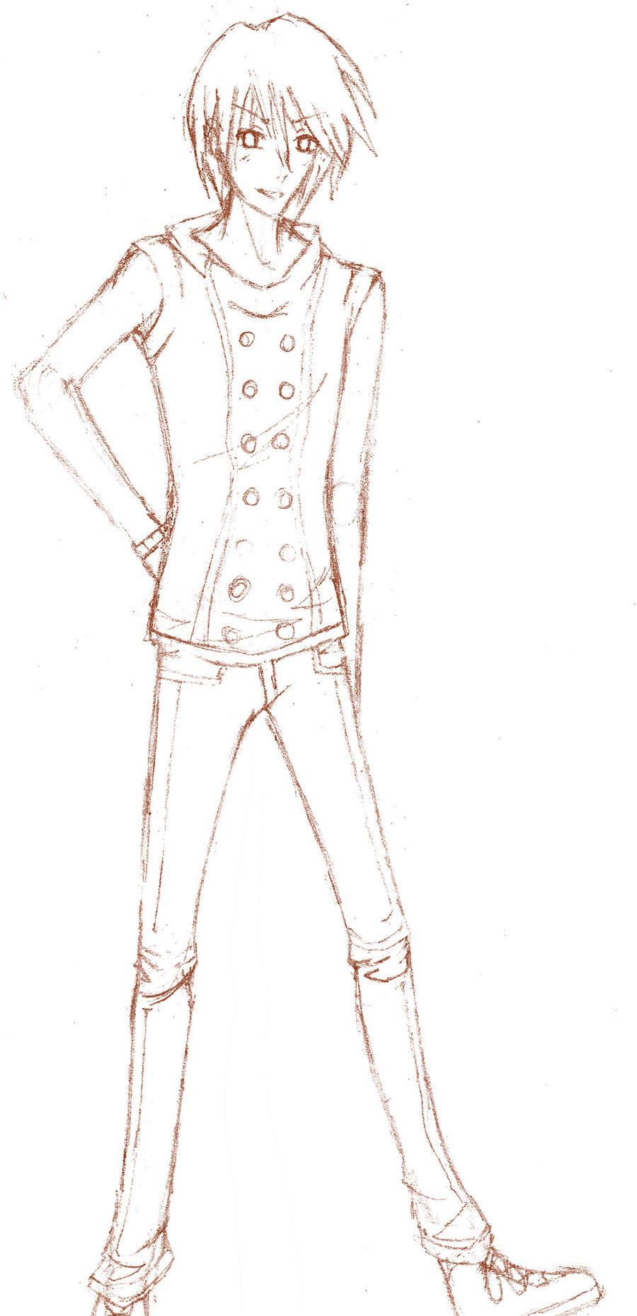 Satoru full body pencil sketch by pheoniic on deviantart for Easy body drawings