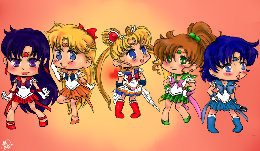 SailorMoon Chibis Colored by ARTofWrath