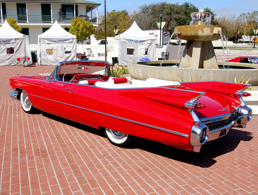red 1959 Cadillac tailfins by