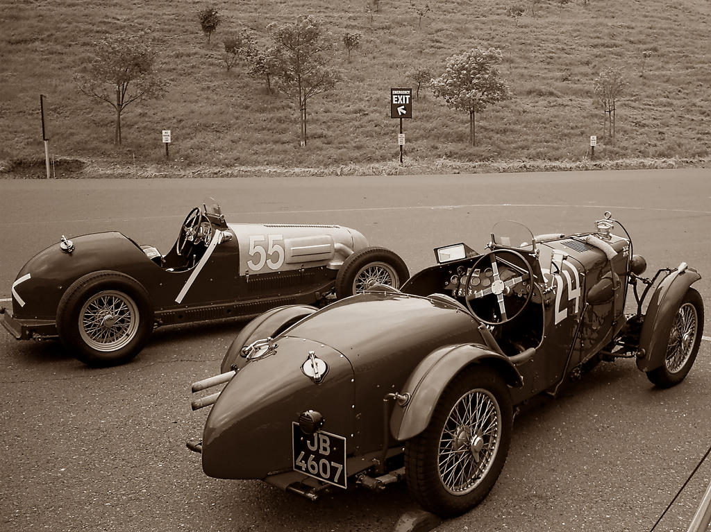 Pre WWII MG racecars BW sephia by Partywave on DeviantArt