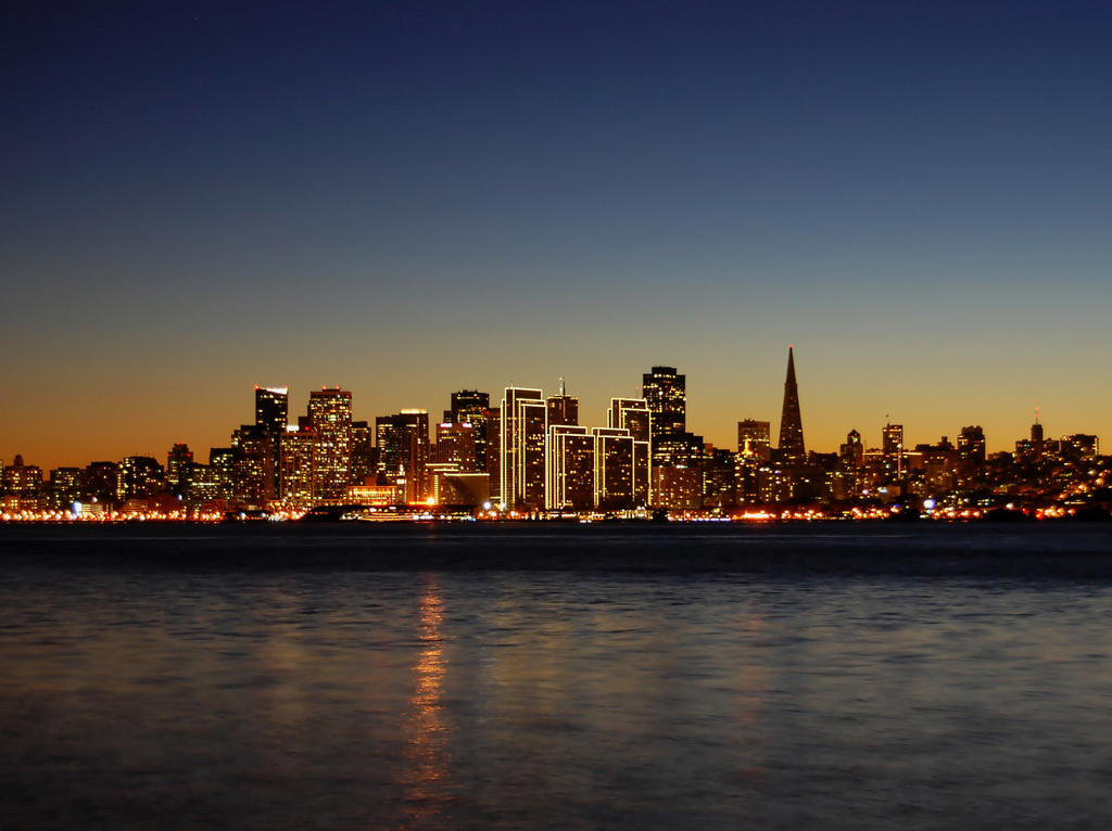 San Francisco skyline at night by Partywave