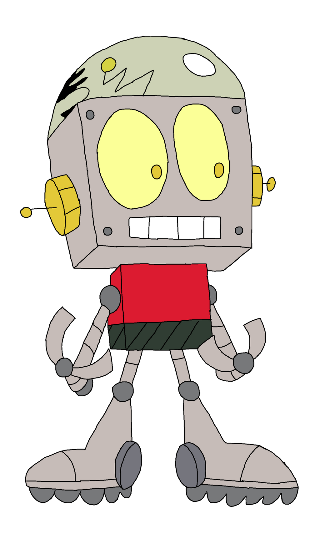 Robot Jones in ok ko art style by Kabutopsthebadd on