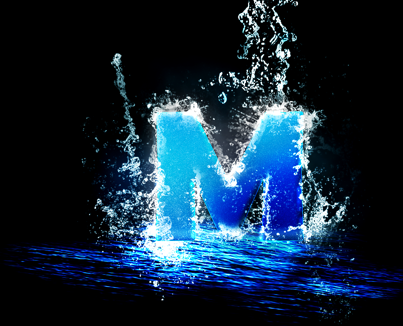 Letter M In A Splash Of Water By Lesliecota