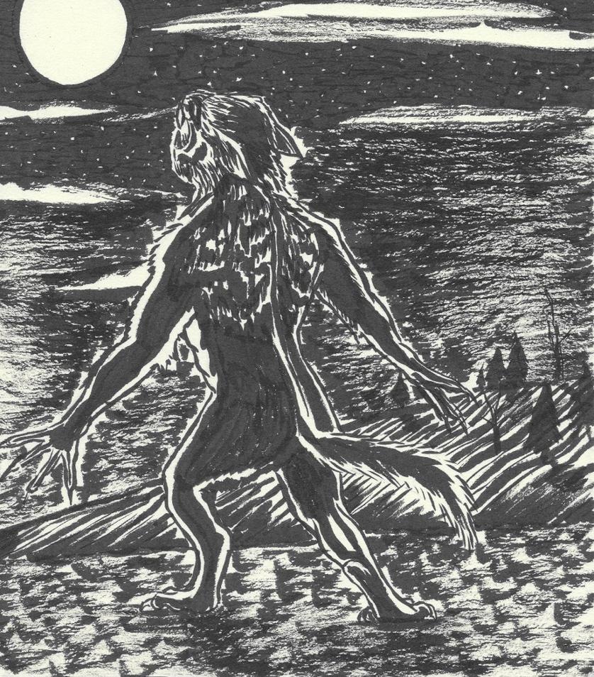 Inktober 2016 Day 23 Werewolf Howl by Ranasp