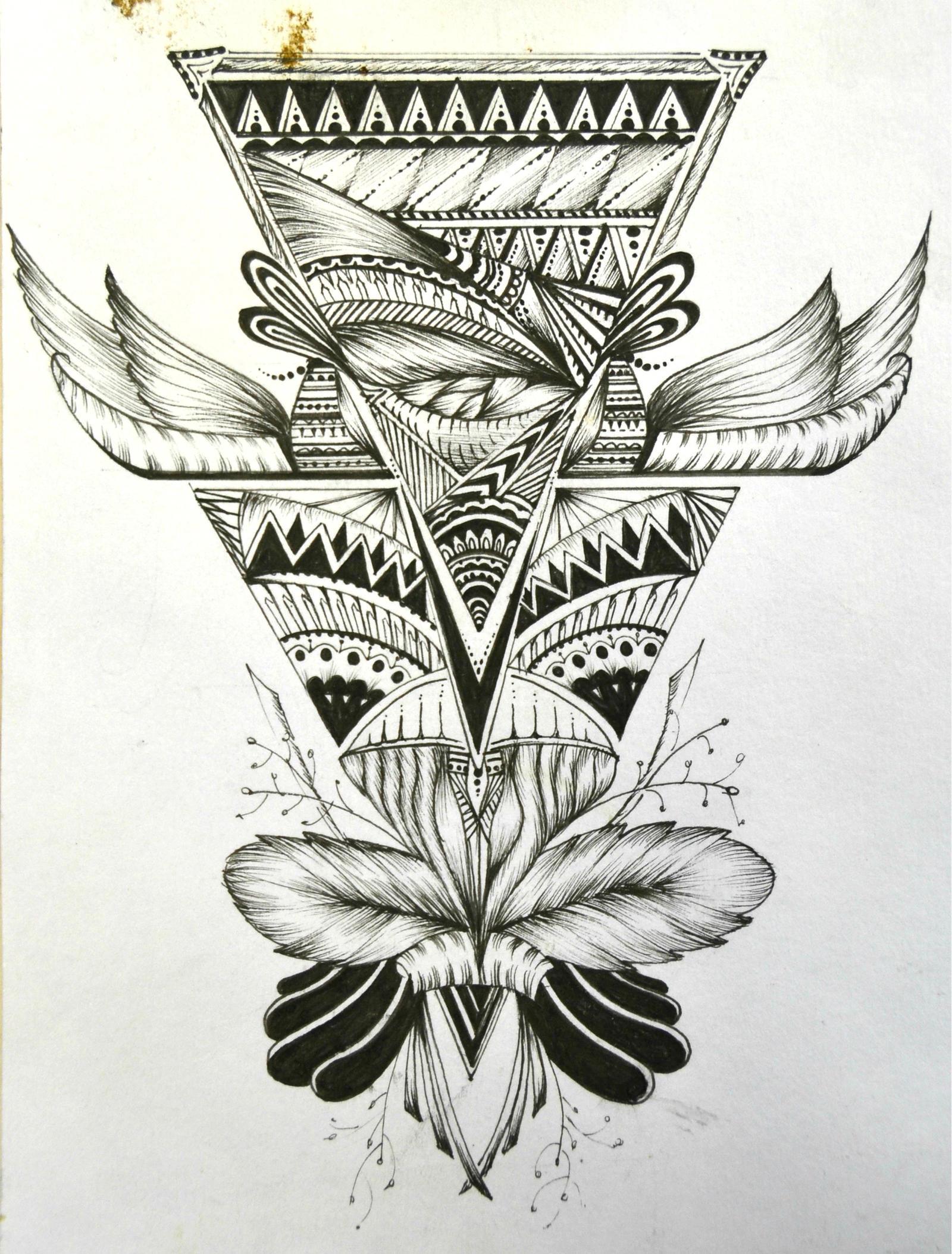 black and white owl tattoo design