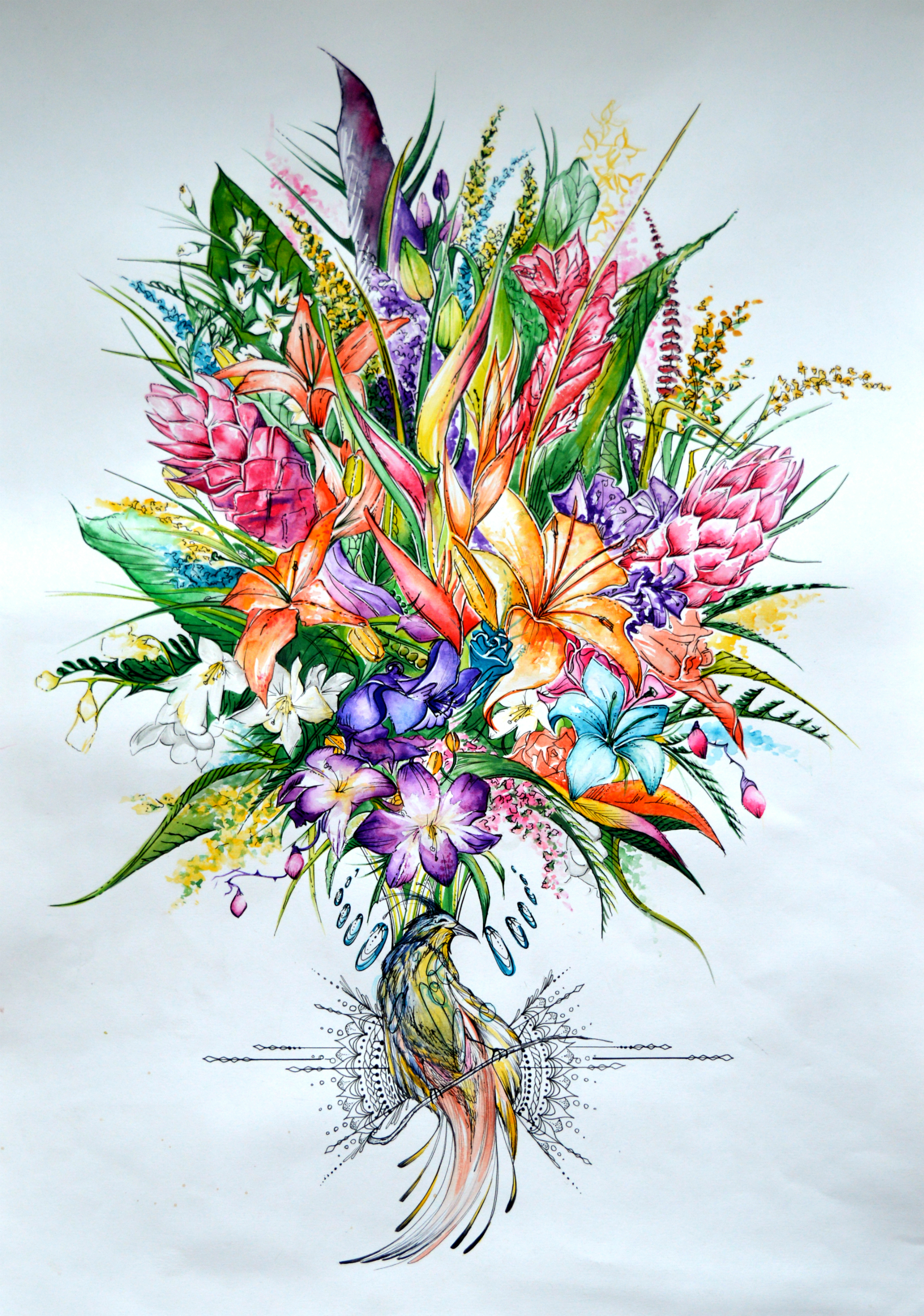 Bouquet painting by lushinnickii on DeviantArt