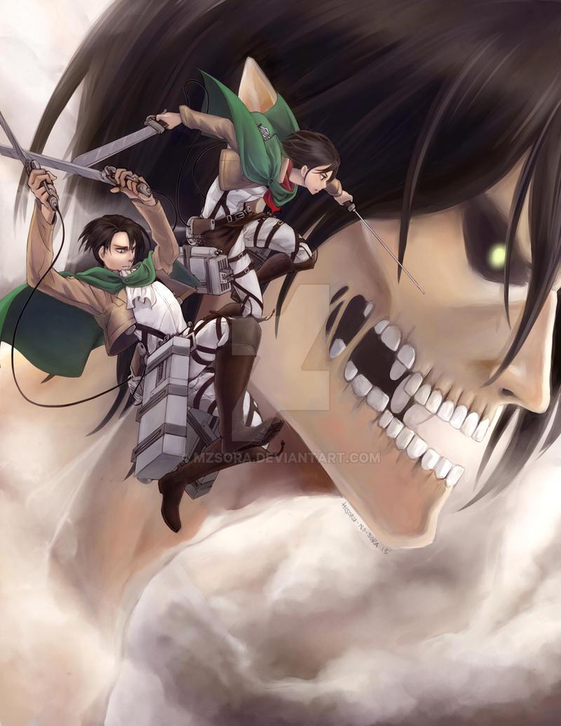 Shingeki no Kyojin: Levi, Mikasa, Eren by mzsora