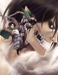 Shingeki no Kyojin: Levi, Mikasa, Eren
