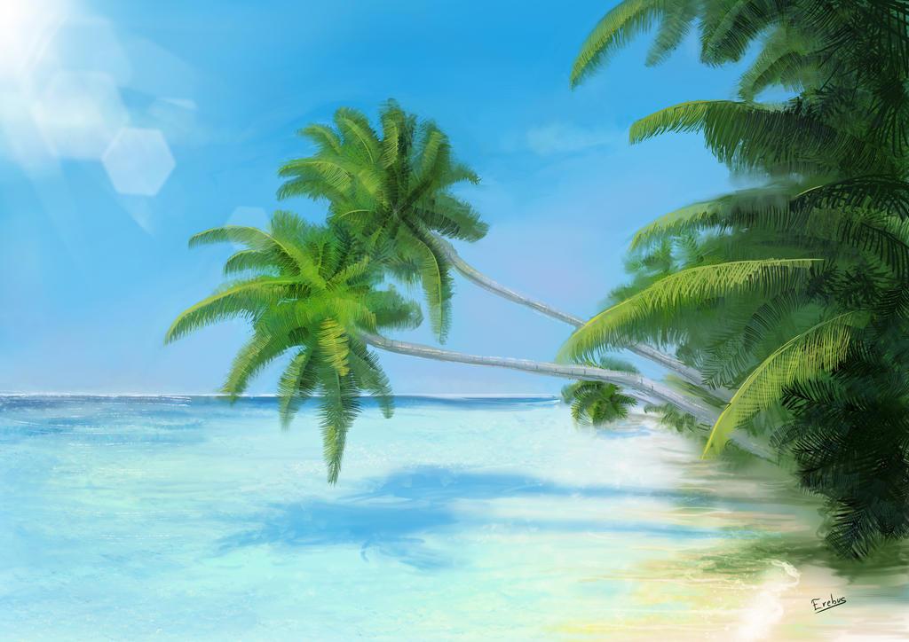 Tropical Beach By Erebus Art