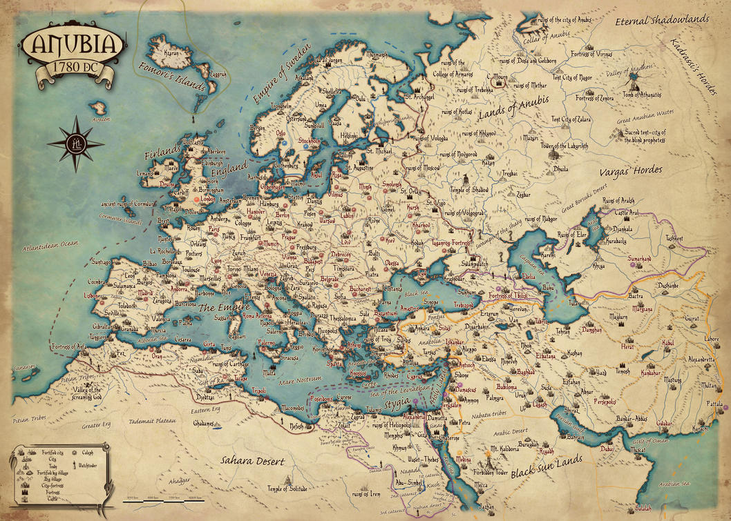 Map of Europe of Anubia by Erebus-art