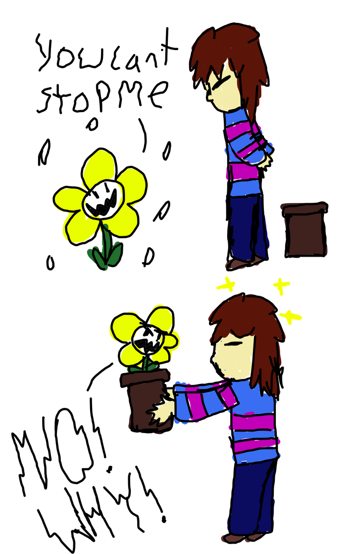 Frisk and flowey comic by zencat61