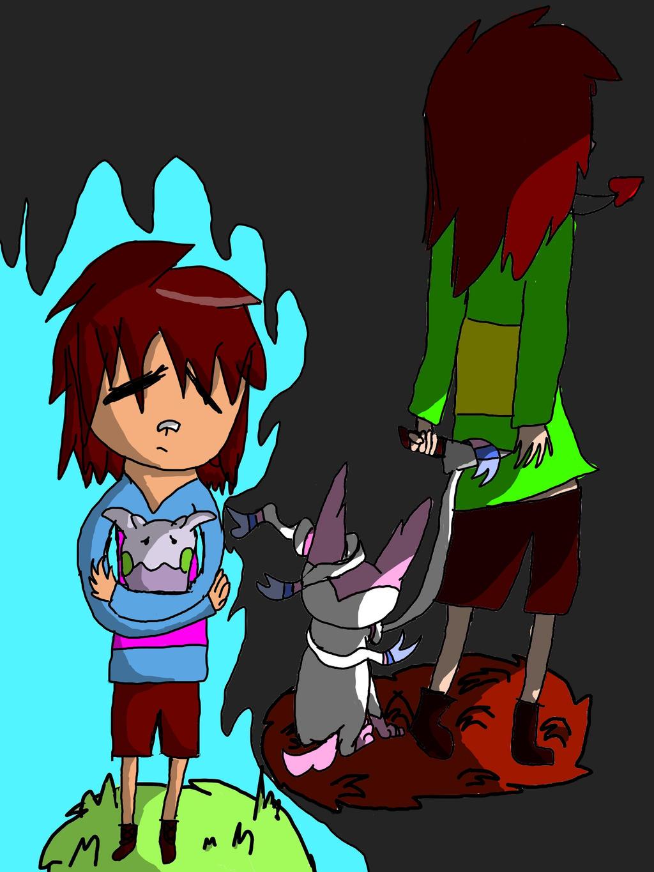 Frisk And Chara Pokemon by zencat61